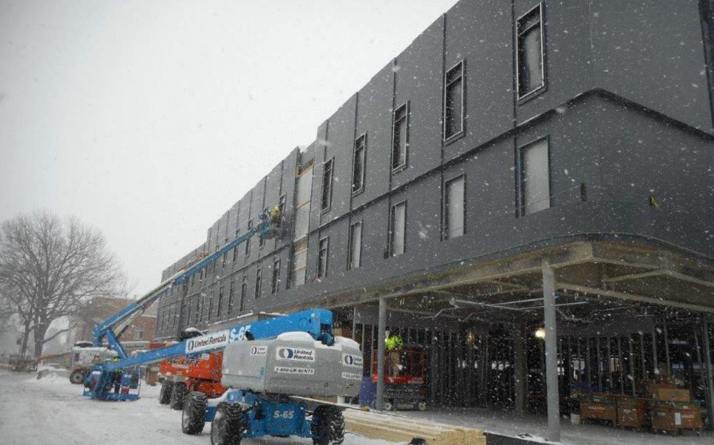 construction site in snow