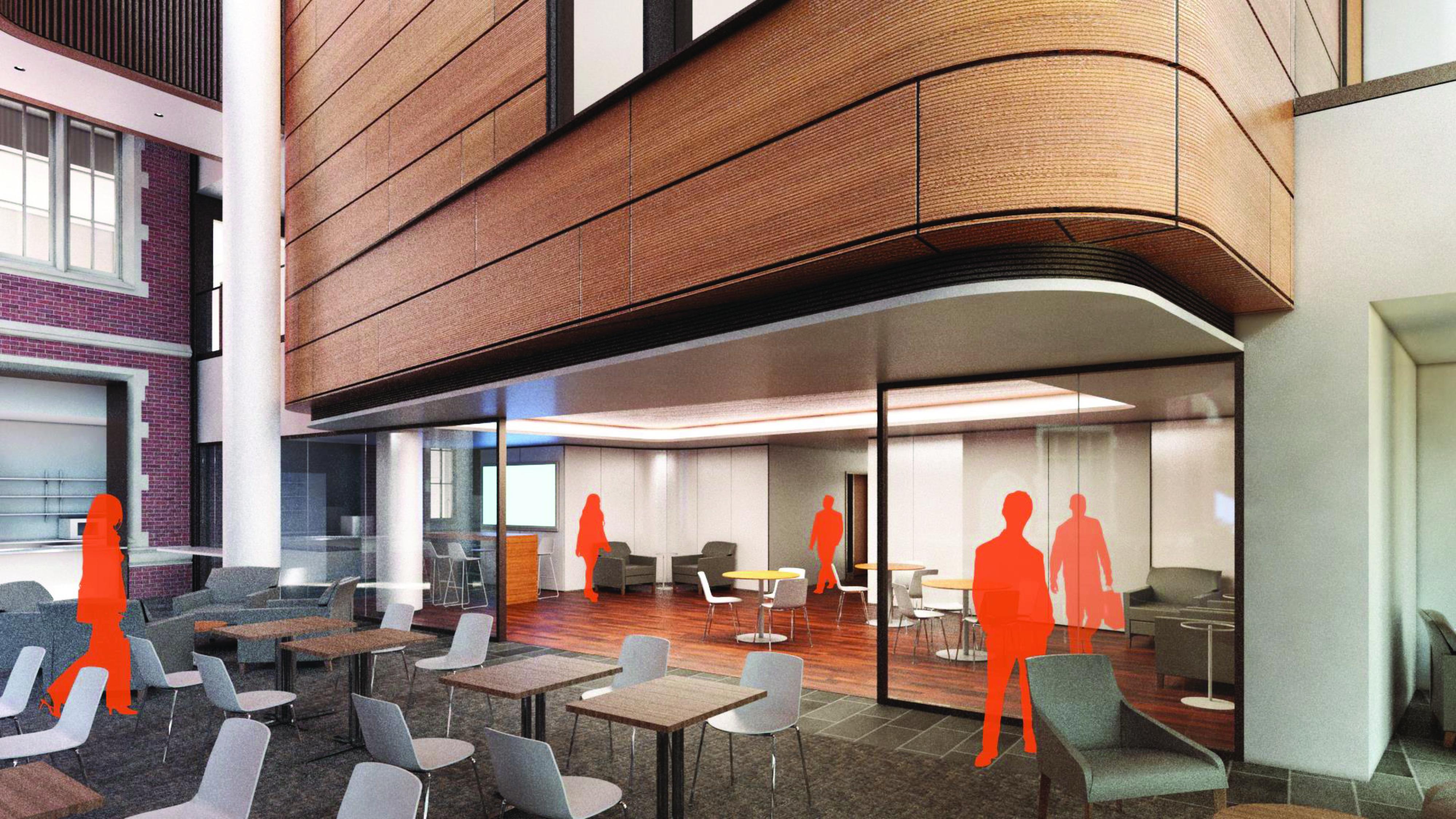 Concept rendering of seating in HSSC main atrium