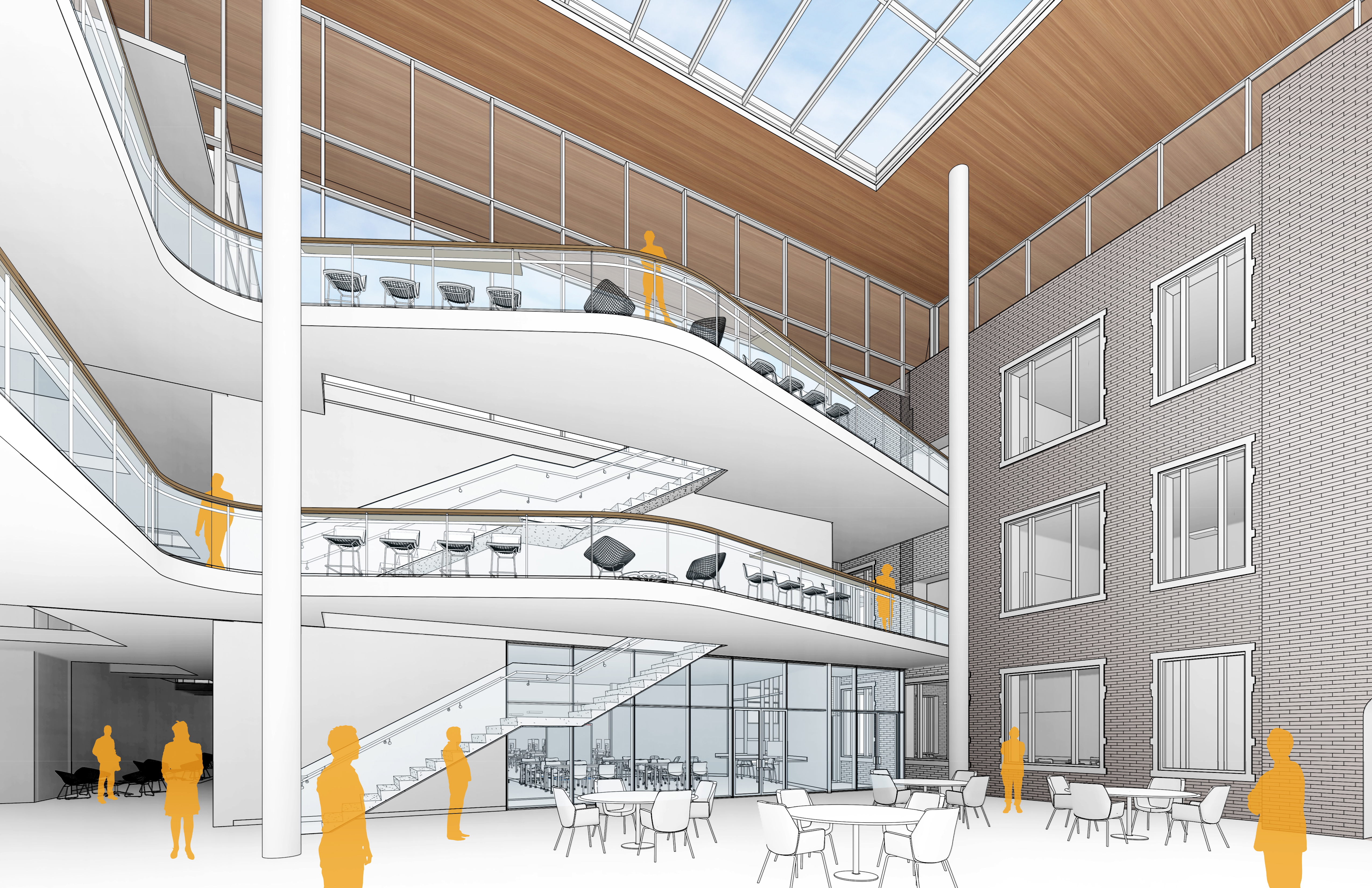 Concept rendering of the elevated walkways in the central atrium of HSSC