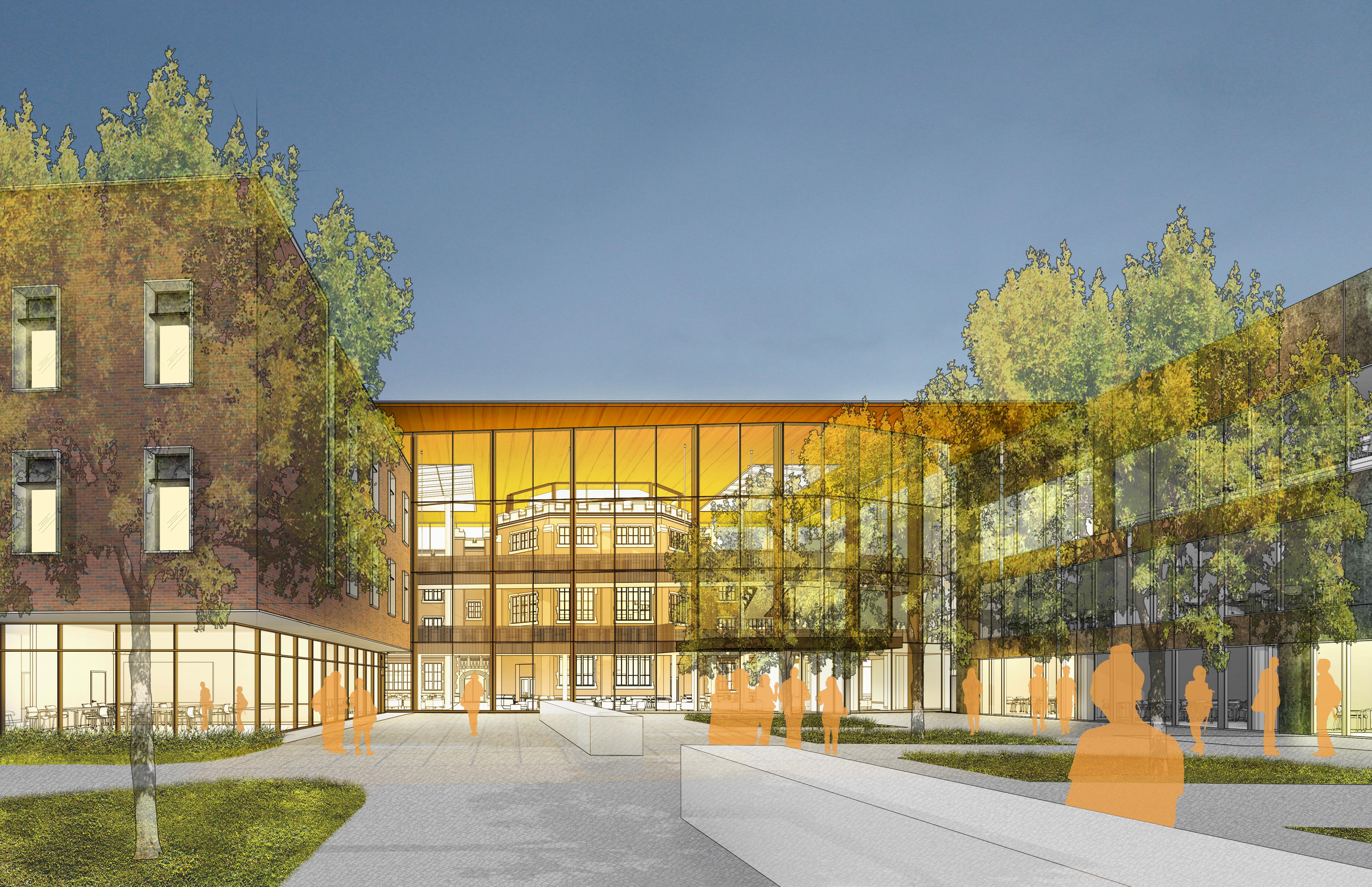 Concept rendering of entrance to HSSC glass atrium