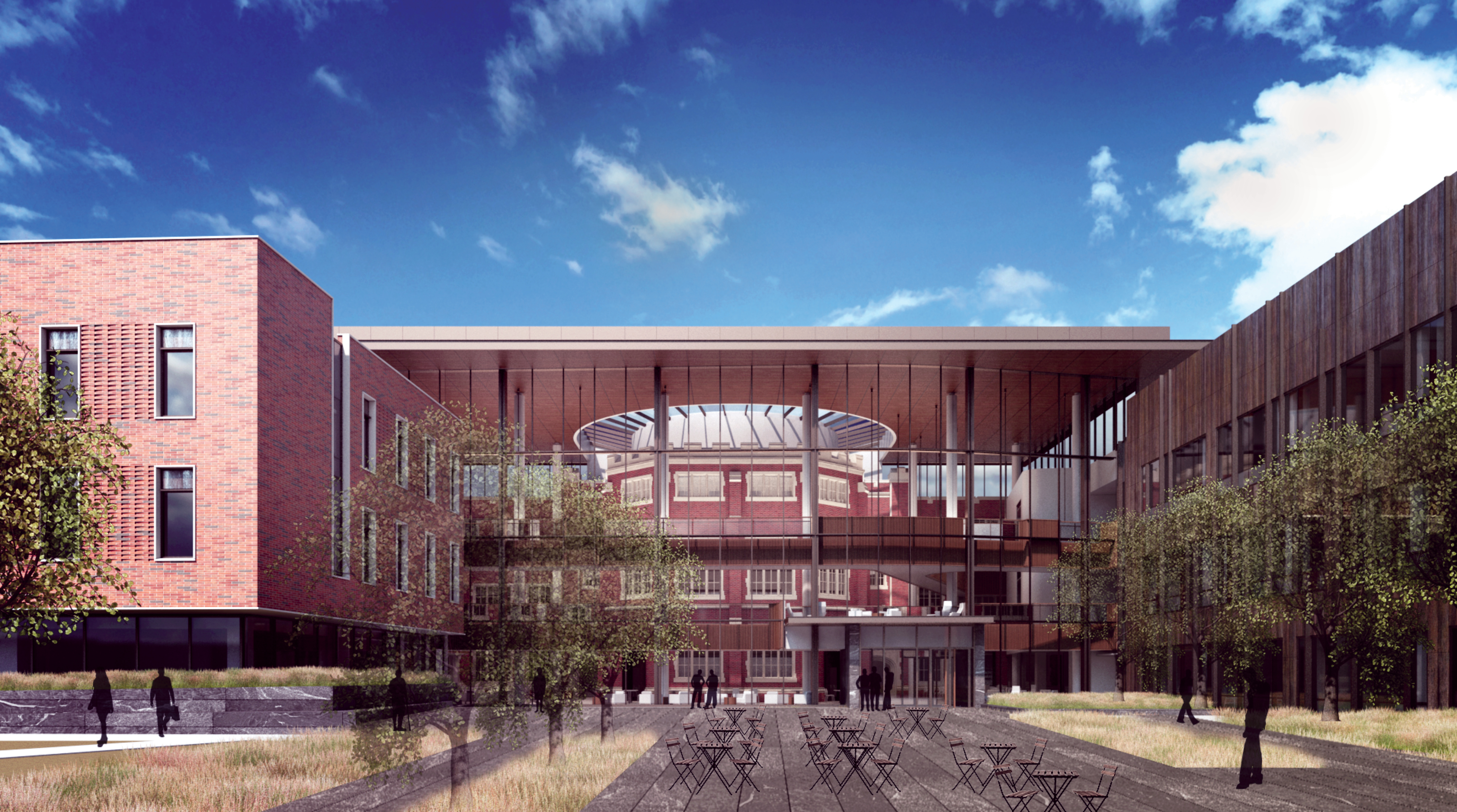 Artist rendering of HSSC main entrance, showing external learning spaces as well as atrium with skylight over ARH elbow.